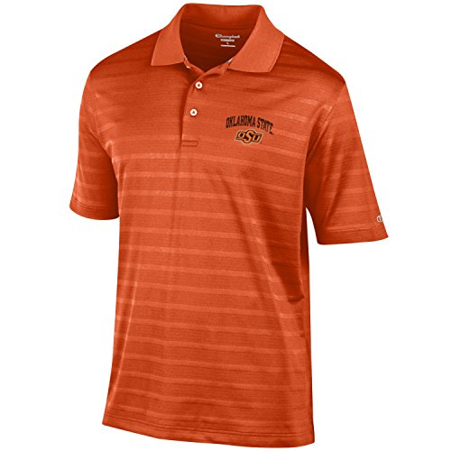 NCAA Champion Men's Textured Solid Polo, Oklahoma State Cowboys, Large
