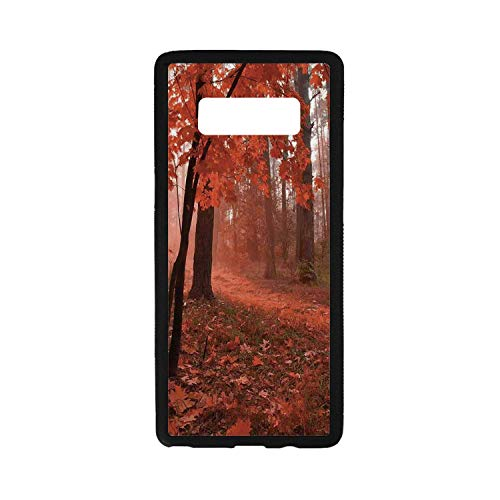 Fall Utility Rubber Case,Misty Forest with Leaves from Deciduous,Compatible with Samsung Galaxy Note 8