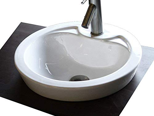 (Elimax's Bathroom Semi-Recessed Porcelain vessel drop-in Sink Self-Rimming With Free Chrome Pop Up Drain SR-328)
