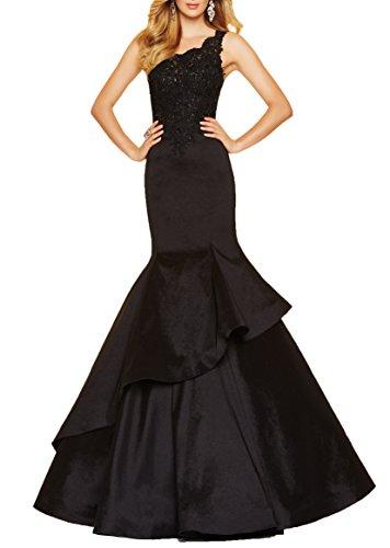 YORFORMALS Women's Mermaid Lace Appliqued Formal Evening Prom Dress Long Tiered Taffeta Skirt Size 8 Black (Long Taffeta Skirt)