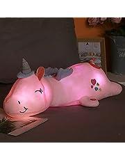 60 cm-125 cm Mooie Gloeiende LED Licht Eenhoorn Knuffels voor Kinderen Gevulde Leuke Lichtgevende Dier Kussen Poppen Kinderen Baby Geschenken 80 CM PinkLight