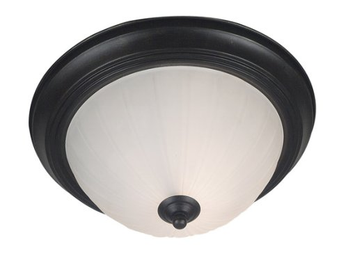 Kenroy Home 80390GBRZ Interlude One-Light Flush mount Light with 9-Inch Frosted Melon Glass (Interlude 1 Light)