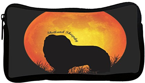 d Sheepdog Dog Silhouette by Moon Neoprene Pencil Case (dky-Neo-pc41324) ()