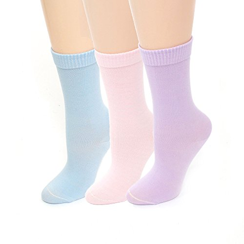 (Diabetic Socks | Womens Pink/Lavender/Baby Blue Crew Assorted 3 Pack | Seamless Toe Size 9-11)
