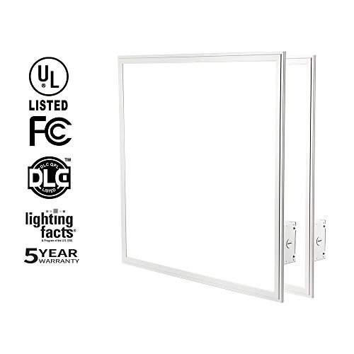 HIKETOLIGHT LED Panel Light 2x2 FT, 40W (120W Equivalent) Troffer Flat Panel Ultra Thin Commercial Drop Ceiling Edge-Lit Dimmable Lamp Fixture 5000lm DLC Premium 4.2 Qualified-Pack of 2(5000K)