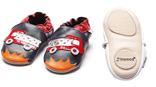 Jinwood designed by amsomo 12 Verschiedene Modelle - Jungen - Maedchen - Hausschuhe - Echt Leder - Lederpuschen - Krabbelschuhe - Soft Sole/Mini Shoes DIV. Groeßen 17/19-35/36 fire engine mini shoes