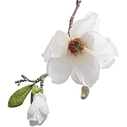 Magnolia Leaf Artificial Flowers Natural Fake Plant Unique Gifts Garden Wedding Festival Balcony Courtyard Home Party Events Table Office Patio Decor Clearance (White)
