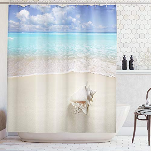By 05 Rug Ivory (Ambesonne Seashells Decor Collection, Beach Sand Pearl Necklace Shell Summer Holiday Horizon Caribbean Tropical Coast Image, Polyester Fabric Bathroom Shower Curtain, 75 Inches Long, Blue Ivory)
