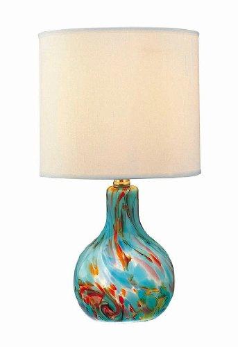 Lite Source LS-20073AQUA Pepita Table Lamp, Aqua Glass with Fabric Shade