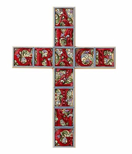 Jim Shore Amazing Grace Wall Cross Resin 15 Inches High Gift Boxed -