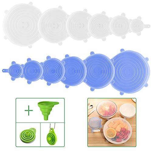 (Vantic Silicone Stretch Lids - 12 Pack Bowl Covers Funnel Flexible Lids with 1 Silicone Funnel for Reusable Food and Bowel Covers)