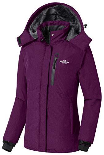 Hood Snowboard Jacket (Wantdo Women's Detachable Hood Waterproof Fleece Lined Parka Windproof Ski Jacket Winter Coat Purple US Small)