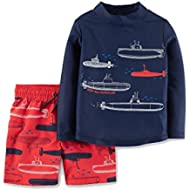 Just One You by Carters Toddler Boys' Submarines Long Sleeve Rash Guard Swim Set Blue Red