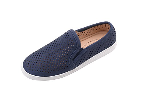 Slides Ashley Womens - Ashley A Collection (A-EMERLY Women Canvas Slip On Laser Cut Fashion Sneakers, Navy 8