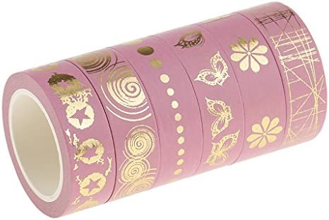 4色 スクラップブッキング 全6個 マスキングテープ 粘着テープ 10メートル - ピンク