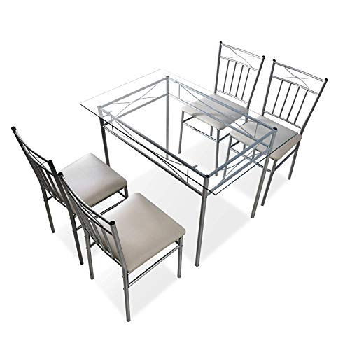 Harper & Bright Designs 5 PCS Dining Table Set 4 Person Kitchen Glass Top Dining Table and Chairs Breakfast Furniture, Silver ()