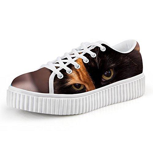 Knuffels Idee Mode 3d Dier Gezicht Printg Lage Top Schoenen Platform Sneakers Cat7
