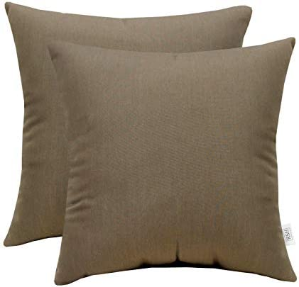 RSH D cor Set of 2 Indoor Outdoor Decorative Square Throw Pillows Sunbrella Canvas Taupe 24 x 24