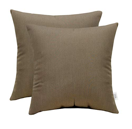 RSH Décor Set of 2 Indoor Outdoor Decorative Square Throw Pillows Sunbrella Canvas Taupe (24