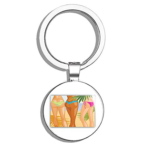 Glover Trading Bikini Girls Summer Sexy Hawaii Round Stainless Steel Metal Key Chain Keychain Ring Double Sided Deisgn (Ghetto Bikini)