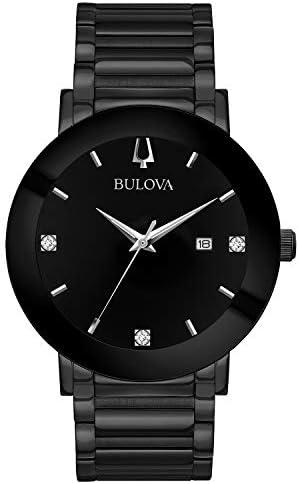 Bulova men's modern quartz watch with stainless steel strap, black, 22 (model: 98D144)