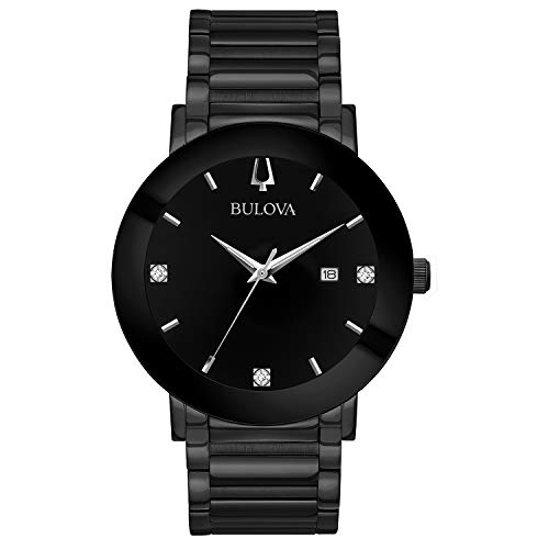 Bulova Men's Modern Quartz Watch with Stainless-Steel Strap, Black, 22 (Model: 98D144) ()