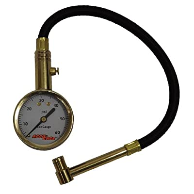 Accu-Gage RA60X (5-60 PSI) Right Angle Chuck Dial Tire Pressure Gauge with Hose: Automotive [5Bkhe2009572]