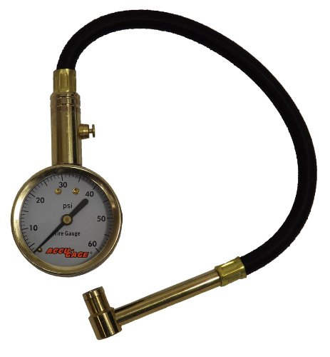 Accu-Gage RA60X (5-60 PSI) Right Angle Chuck Dial Tire Pressure Gauge with Hose