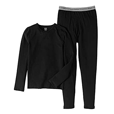 Fruit of the Loom Boys Performance Thermal Underwear Top and Bottom Set - Black