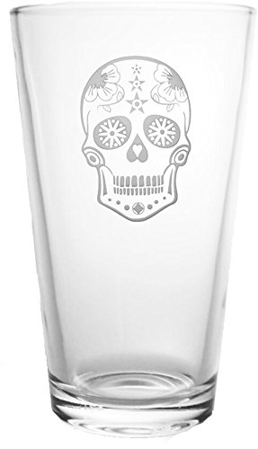 Rolf Glass Etched Sugar Skull Pint Glass (Set of 4), 16 oz, Clear