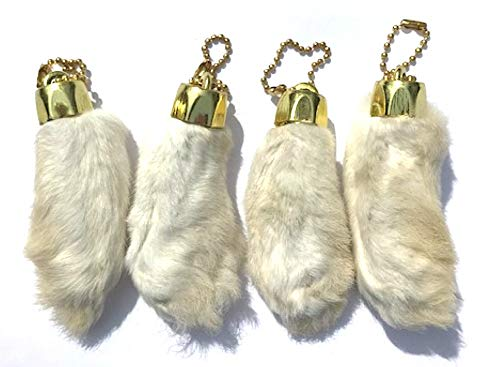 Dangerous Threads Rabbit Rabbits Foot Keychain Snow White with Gold Chain 4 Pieces]()