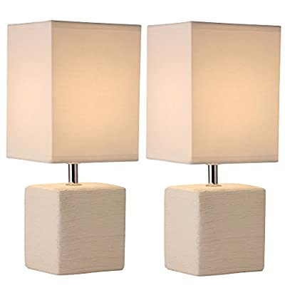 Light Accents Bedroom Side Square Ceramic Table Lamps