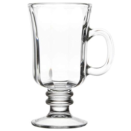 Irish Glass Coffee Mug, Footed Coffee Mug 8 oz. These Simple, ELEGANT Glasses Can Be Used for Morning Coffee & Serve Sweet Treats as Well. High Decorative Pedestal Bottoms & Circular Handle (4)