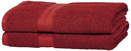 AmazonBasics Handtuch-Set, ausbleichsicher, 2 Badetücher, Rot