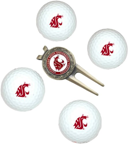 NCAA Washington State Cougars 4 Golf Ball And Divot Tool Set (Ball Logo Golf Balls State)