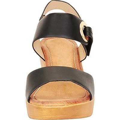Cambridge Select Women's Open Toe Metallic Accent Low Mid Chunky Platform Wedge Sandal: Shoes