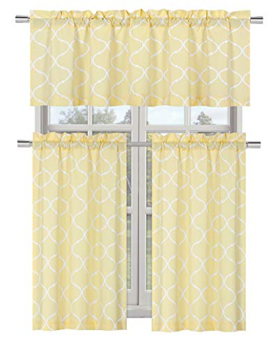 (Regal Home Collections Shabby Lattice Kitchen Curtains - Assorted Colors & Sizes (Maison Yellow, Complete Kitchen Curtain Set))