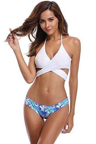 Foglie fiori Spiaggia di Bikini bagno bendare Bianco costume donne bagno costume SHEKINI Stampa costumi pezzi due Estate Mare capestro da da xgFwn8fqv1