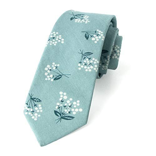 (Spring Notion Men's Floral Print Cotton Skinny Tie, 14-Blue White)