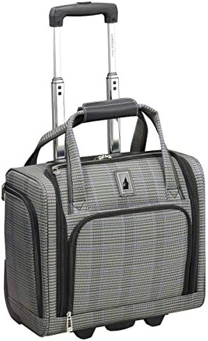 London Fog Knightsbridge II 15 2-Wheel Under The Seat Bag, Grey Sapphire Plaid