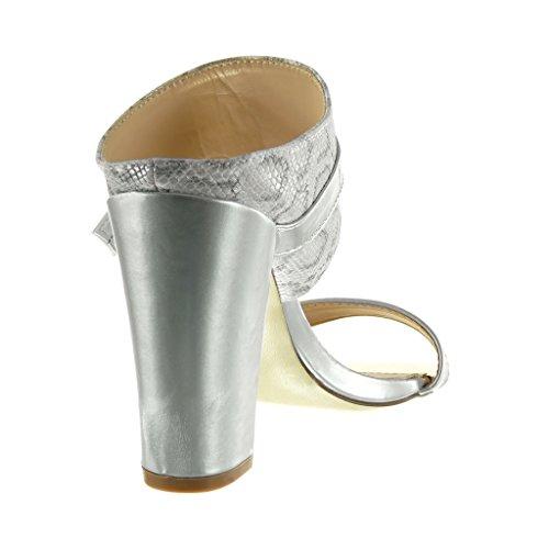 Angkorly - Zapatillas de Moda Sandalias Mules mujer piel de serpiente Hebilla dorado Talón Tacón ancho alto 10 CM - Plata
