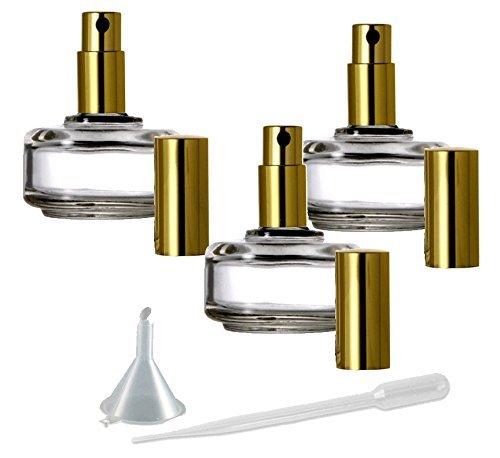 Perfume Fine Mist Atomizer, Flat Round Glass Bottle, Grand Parfums Gold Fine Mist Sprayer 1/2 Oz -15ml (1 Bottle) ()