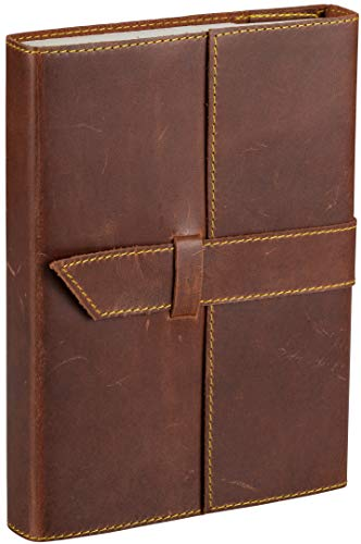 (Tuk Tuk Press, Handmade Buffalo Leather Journal, Luxury Medium Brown Smooth Finish, 200 Unlined Thick Cotton Pages, Refillable, 7 Inches x 5 Inches)
