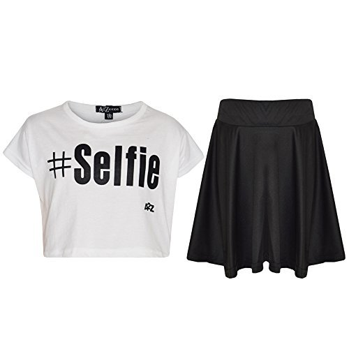 Kids Girls Comic Graffiti Leopard #Selfie Crop Top & Fashion Skater Skirt Set