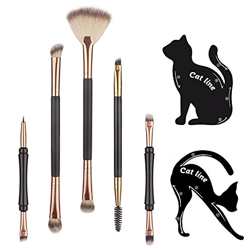 Makeup Eye Brush Set , Yedda 5 Piece Eye Makeup Brushes Double Sided Essential Makeup Brushes Set and Cat Line Eyeliner Stencil with Travel - Cat Eyebrow