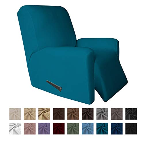 Easy-Going 4 Pieces Microfiber Stretch Recliner Slipcover - Spandex Soft Fitted Sofa Couch Cover, Washable Furniture Protector with Elastic Bottom for Kids,Pet (Recliner, Peacock Blue)
