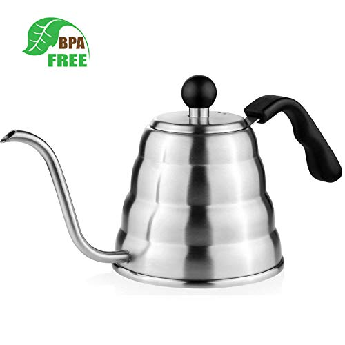 Tea Kettle, Aicok Gooseneck Stainless Steel Coffee Kettle, 1.2 L Fast Boiling Hot Water Kettle, Pour Over Coffee Tea Maker Pot With Leak Proof Double Base