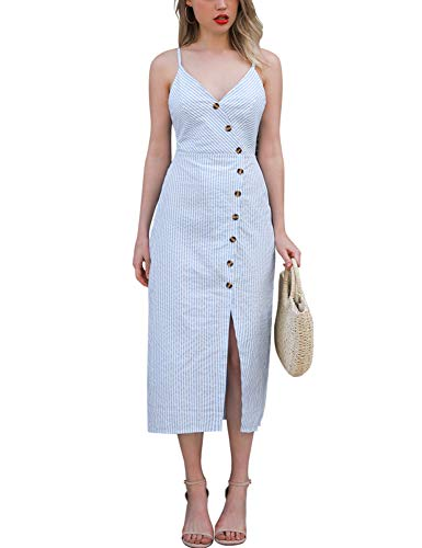 Blooming Jelly Womens V Neck Dress Sleeveless Spaghetti Strap Button Down Striped Summer Casual Midi Dresses(M,Blue and White)