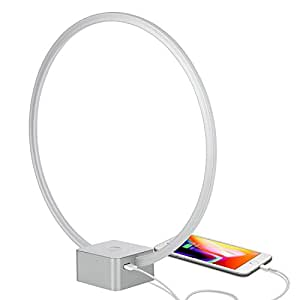 Brightech Circle - LED Modern Bedroom Nightstand Lamp - Super Bright Bedside Table Reading Light, Dimmable To Night Light - Great On Side & End Tables - USB Port - Titanium Silver
