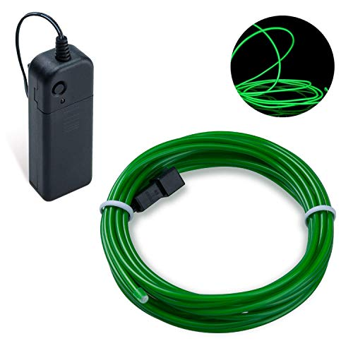 Lysignal 9ft Neon Glowing Strobing Electroluminescent Light Super Bright Battery Operated EL Wire Cable for Cosplay Dress Festival Halloween Christmas Party Carnival Decoration (Emerald Green) -